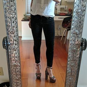 JCrew black velvet toothpick pants